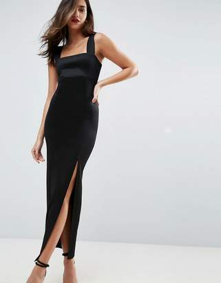 Asos Square Neck Scuba Maxi Dress With Thigh Split