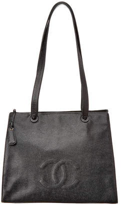 Chanel Black Caviar Leather Cc Tote