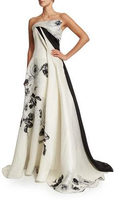 Rubin Singer Strapless Black-Rose Gazar Gown, Black/White $7,540 thestylecure.com