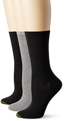 Gold Toe Women's Non-Binding Flat-Knit Crew Sock 3-Pack