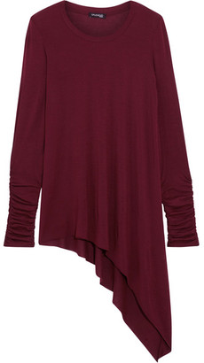 Splendid - Luxe Asymmetric Stretch Micro Modal And Cashmere-blend Top - Burgundy $140 thestylecure.com