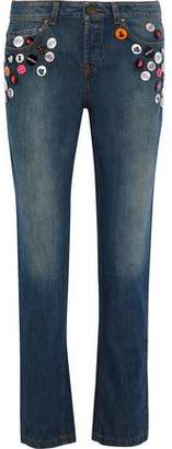 RED Valentino Button-Embellished Mid-Rise Straight-Leg Jeans