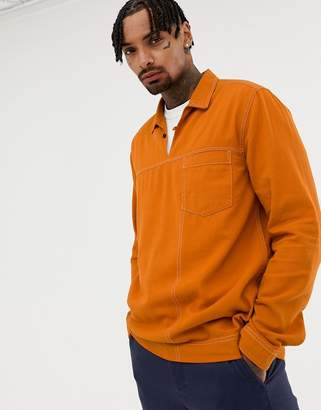 Asos DESIGN regular fit overhead shirt in orange