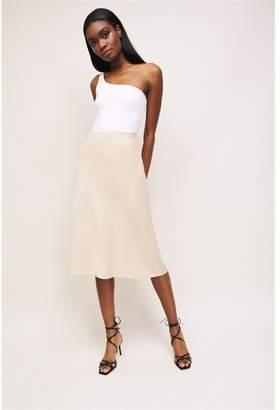 Dynamite Satin Midi Skirt Moonlight Beige