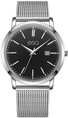 ESQ Men's ESQ0040 Domed Crystal Silver-Tone Stainless Steel Watch with Black Dial