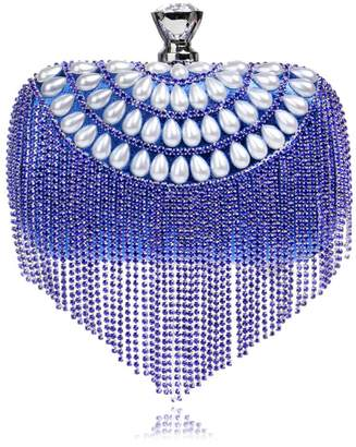 Crystal Pearl ANSAN Womens Tassel Evening Clutch Bag Rhinestone with Chain Purse Wedding Bridal Party Handbag