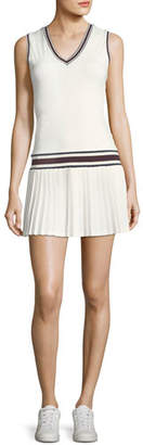 Tory Sport V-Neck Pleated Sleeveless Tennis Dress