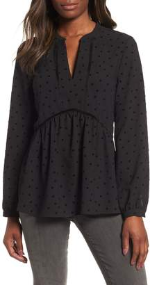 Gibson x Glam Squad Woven Flocked Dot Peplum Blouse
