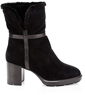 Aquatalia Women's Isolda Shearling-Lined Suede Ankle Boots