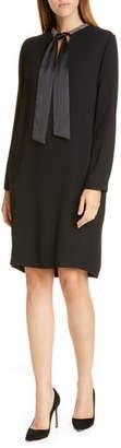 Fabiana Filippi Tie Neck Long Sleeve Shift Dress