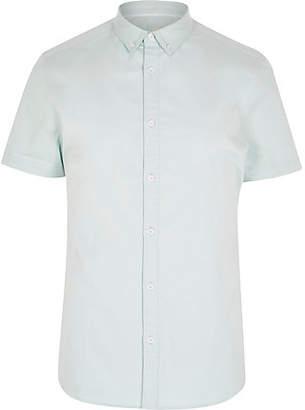 River Island Mens Mint Green short sleeve twill shirt