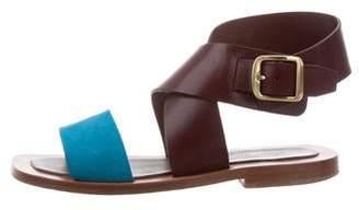Celine Leather Crossover Sandals