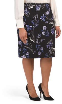 Plus Floral Scuba Pencil Skirt