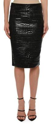 Tom Ford Crocodile-Embossed Leather Knee-Length Skirt
