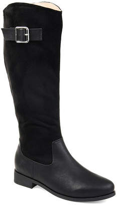 891407ac59d9c Journee Collection Womens Frenchy Wide Calf Stacked Heel Zip Riding Boots