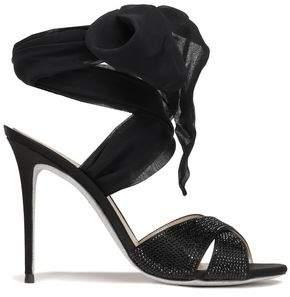 Rene Caovilla Rene' Caovilla Lace-up Crystal-embellished Satin And Georgette Sandals