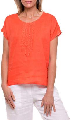 Short Sleeve Tuck Front Top