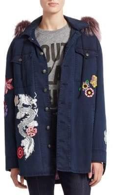 Zora Embroidered Fox Fur Trimmed Jacket