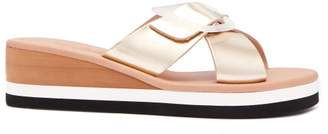 Ancient Greek Sandals Thais Rainbow Leather Wedge Sandals - Womens - Gold