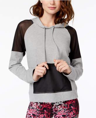 Material Girl Mesh-Inset Pullover Hoodie