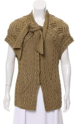 Oscar de la Renta Cable Knit Short Sleeve Cardigan Khaki Cable Knit Short Sleeve Cardigan