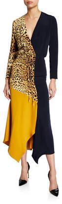 Cushnie Leopard Print & Colorblocked Wrap Dress