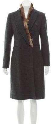 Blumarine Fur-Trimmed Knee-Length Coat