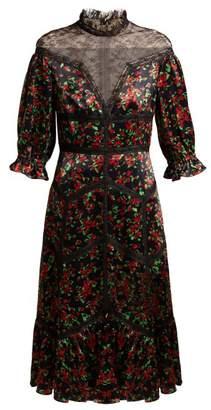 Valentino Panelled floral-print satin dress
