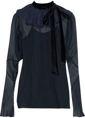 8058a37b3 Chloé Velvet-trimmed Ruffled Silk-chiffon Blouse