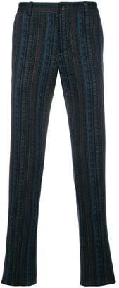 Etro mixed print straight-leg trousers