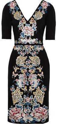 Catherine Deane Embroidered Stretch-Ponte Dress