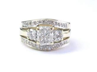 14K Yellow Gold 1.60 Ct Radiant & Round Cut Diamond Wide Engagement Ring