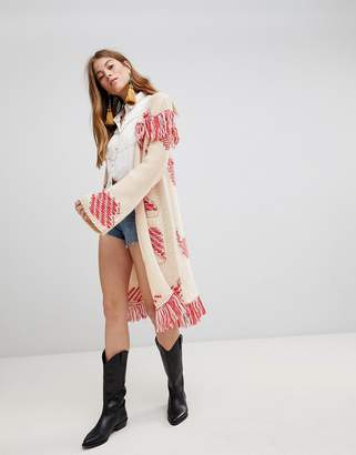 Glamorous Longline Cardigan With Contrast Fringing In Chunky Knit