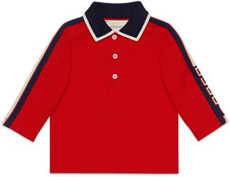 Gucci Long Sleeve Stripe Cotton Pique Polo Shirt