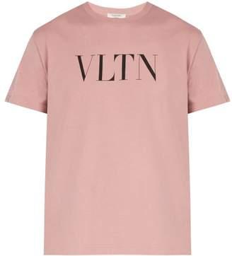 Valentino Logo Print Cotton T Shirt - Mens - Pink
