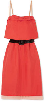 Marc Jacobs Belted Tulle And Velvet-trimmed Silk-twill Mini Dress - Red