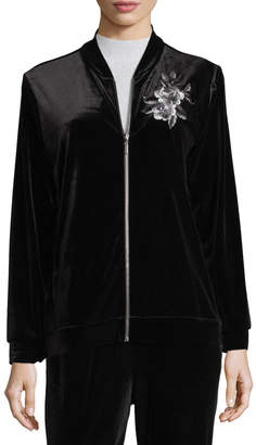 Joan Vass Embroidered Velvet Jacket, Petite