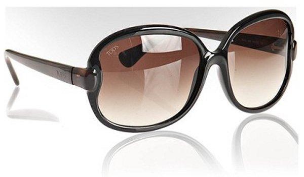 Tod's  dark brown plastic oversized round sunglasses