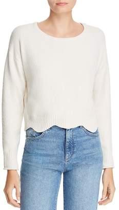 Aqua Scalloped Cropped Chenille Sweater - 100% Exclusive