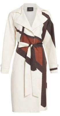 Akris Eevee Silk-Blend Line & Dot Belted Coat