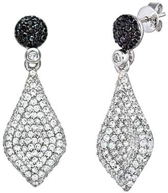 b842a1c42 Camilla And Marc Citerna Sterling Silver with CZ Filled Leaf Embossed Drop  Earrings of 3.2 cm