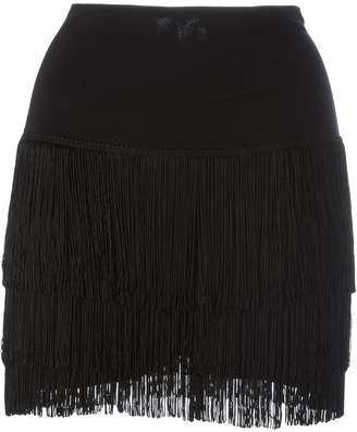 Norma Kamali short fringed skirt