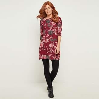 Joe Browns Floral Print Figure-Hugging Dress with 3/4 Length Sleeves