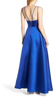 Sequin Hearts Asymmetrical High/Low Satin Evening Dress