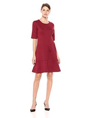 London Times Women's Elbow Sleeve Round Neck Jacquard FIT & Flare Dress