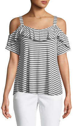 Neiman Marcus Cold-Shoulder Striped Jersey Swing Tee