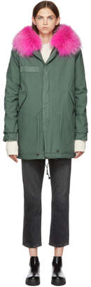 Mr & Mrs Italy Green and Pink Canvas Small Fur Hooded Parka