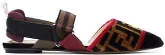 Fendi Multicolor Velvet Forever Ballerina Flats