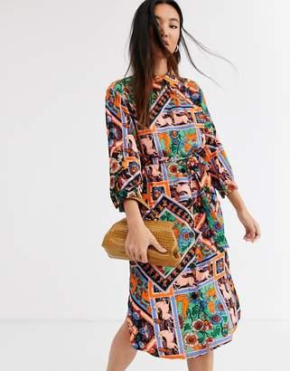 Monki scarf print belted midi shirt dress in multi