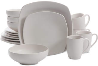 Gibson Signature Living 16-Pc. Majorca Matte Glaze Linen Square Dinnerware Set